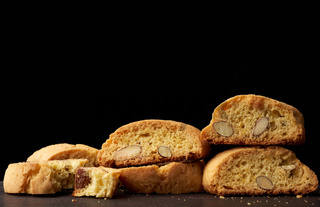 baked piece Italian almond biscotti, cantuccini cookies