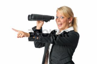 geschäftsfrau mit fernglas