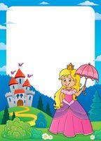 Princess with umbrella theme frame 1