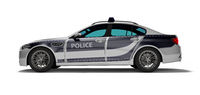 Modern police car with blue accents side view 3d render on white background with shadow