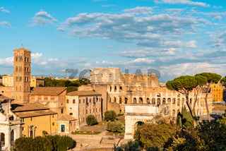 View of Forum of Rome and Colosseum