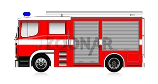 big red firetruck isolated on white