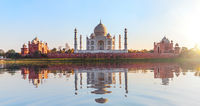 Famous Taj Mahal, panoramic view from Mehtab Bagh, Agra, Uttar Pradesh, India