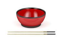 Empty bowl and wooden chopsticks