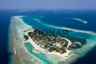 Luftaufnahme, Dhangethi, Malediven