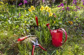 Gartenarbeit im Garten im Frühling, Gardening in the garden in spring