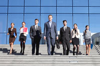 Business people walking on stairs