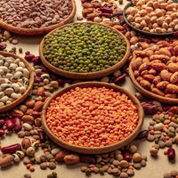 Legumes assortment on a brown background. Lentils, soybeans, chickpeas, red kidney beans, a vatiety of pulses, square shot