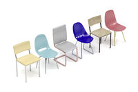 Chairs with different designs and colors