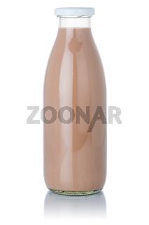 Fresh chocolate milk shake milkshake bottle isolated on white