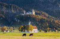 Schloss Neuschwanstein und Wallfahrtskirche St. Coloman bei Schwangau im Allgäu