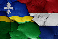 flags of Flevoland and Netherlands painted on cracked wall