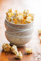 Sweet tasty popcorn in bowl.
