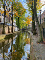 Traditional houses on the Oudegracht (Old Canal) in center of Utrecht.