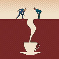 Men and a cup of coffee