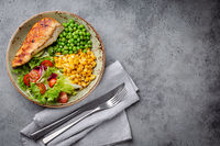 Healthy chicken breast with salad
