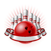 Bowling sport emblem with red glossy ball, bowling pins and white ribbon for lettering.