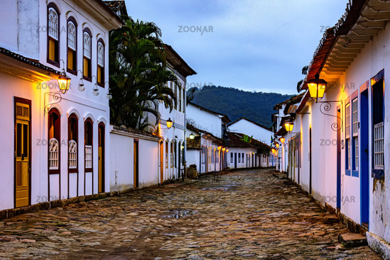 View of the historic city of Paraty at dusk