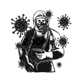 Coronavirus With Doctor Wearing Protective Suit Woodcut