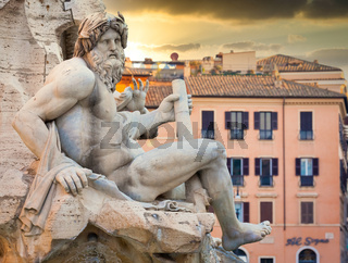 Detail of Piazza Navona (Navona's Square) Bernini fountain in Rome, Italy. One of the most famous sightseeing of the city.