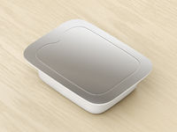 Plastic food container with silver lid