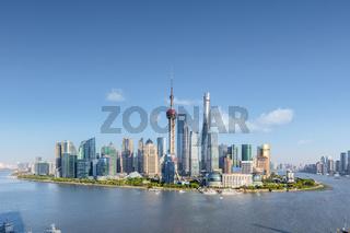 shanghai skyline in sunny sky