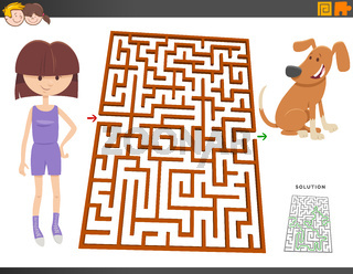 maze game with cartoon girl and puppy dog