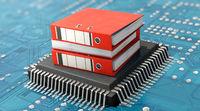 Datenverarbeitung, Datenrettung, Datenbank, EDV... Aktenordner auf CPU-Prozessor und Motherboard