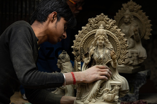 Traditional potters quarter known as Kumartuli in northern Kolkata.150 families live in this area, earning a living by sculpting idols for the festivals