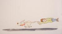 Furious dog pulls dog sitter after him, cartoon drawing