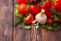 The fresh ingredients for cooking Italian food