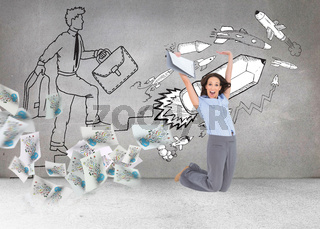 Composite image of happy classy businesswoman jumping while holding clipboard