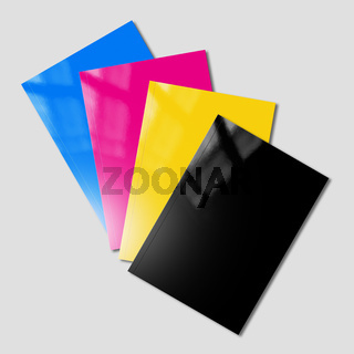 CMYK booklets set mockup on grey background