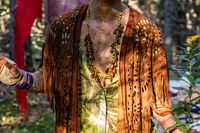 Earth festival man wears native clothes
