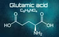 Chemical formula of Glutamic acid on a futuristic background