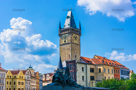 Historic architecture of Old Town Square in Prague with Old Town Hall