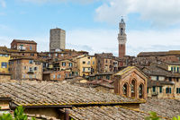 SIENA, ITALY - APRIL 26, 2019: View to the old town in Siena, Italy