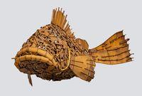 rusty fish sculpture