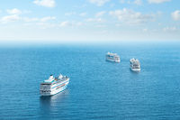 Many cruise ships anchored near coast of Tenerife during covid 19 pandemic