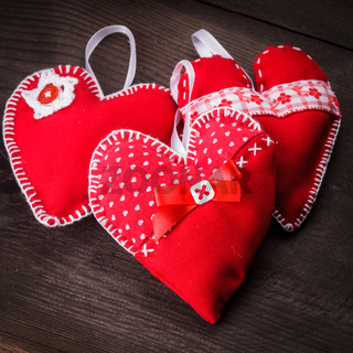Handmade red hearts