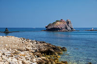 The view of the blue Takkas bay with Aphrodite's Rock.  Akamas Peninsula.  Cyprus