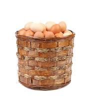 Eggs in a wicker brown basket