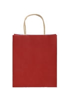 Red paper shopping bag isolated on white