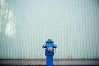Blue water hydrant in front of a green wall. Emergency