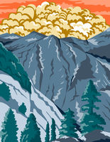 Kings Canyon National Park in Sierra Nevada Fresno and Tulare Counties California United States WPA Poster Art