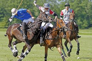 Polospieler kämpfen um den Ball, Bucherer High Goal Polo Cup, Gut Aspern, Hamburg, Deutschland
