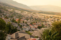 Overlooking the old town with medieval houses in Gjirokaster, Albania