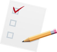 Checklist with pencil flat design illustration. One of three