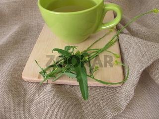 Eine Tasse Tee mit Weg-Rauke