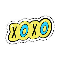 Colorful fashion cartoon sticker with text xoxo, trendy patch badge with slang abbreviation, vector illustration.